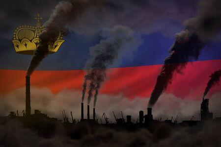 Dark pollution, fight against climate change concept - industrial 3D illustration of industrial chimneys dense smoke on Liechtenstein flag background