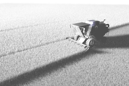 White render of big farm agricultural combine harvester working on field for using as template or background, industrial 3D illustration Archivio Fotografico - 130007532