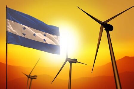 Honduras wind energy, alternative energy environment concept with turbines and flag on sunset - alternative renewable energy - industrial illustration, 3D illustration