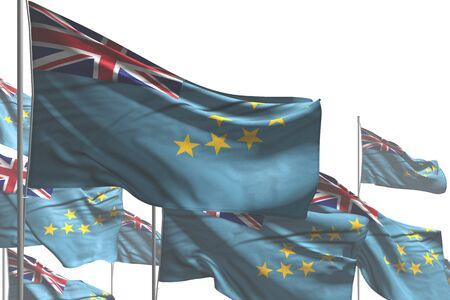 beautiful national holiday flag 3d illustration  - many Tuvalu flags are wave isolated on white