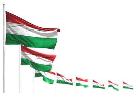 wonderful Hungary isolated flags placed diagonal, illustration with selective focus and space for your text - any holiday flag 3d illustration