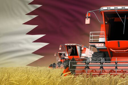 three red modern combine harvesters with Qatar flag on rye field - close view, farming concept - industrial 3D illustration Banque d'images - 130007550