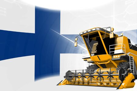 Agriculture innovation concept, yellow advanced farm combine harvester on Finland flag - digital industrial 3D illustration Banque d'images - 130007553