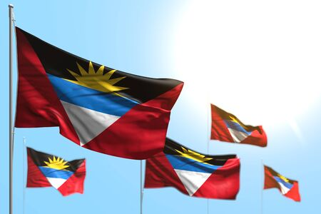wonderful 5 flags of Antigua and Barbuda are wave against blue sky photo with bokeh - any feast flag 3d illustration