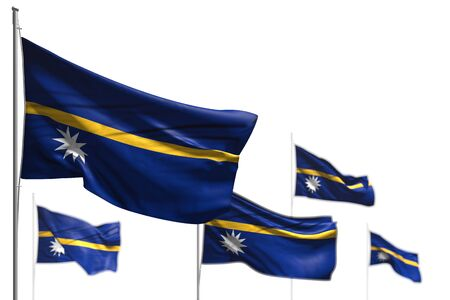 nice five flags of Nauru are wave isolated on white - image with soft focus - any feast flag 3d illustration