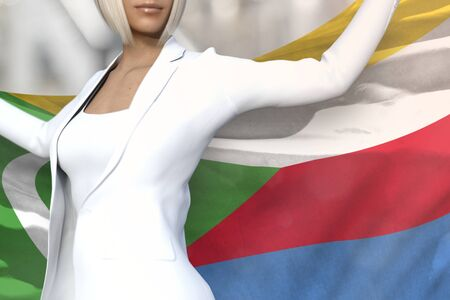 young business lady is holding Comoros flag in her hands behind her on the office building background - flag concept 3d illustration Banque d'images - 129851229