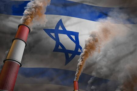 Israel pollution fight concept - two large industry pipes with dense smoke on flag background, industrial 3D illustration
