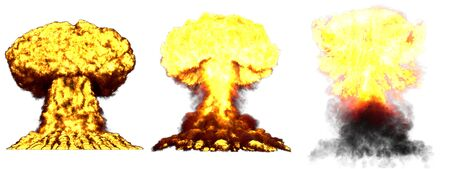3 big highly detailed different phases mushroom cloud explosion of atom bomb with smoke and fire isolated on white - 3D illustration of explosion