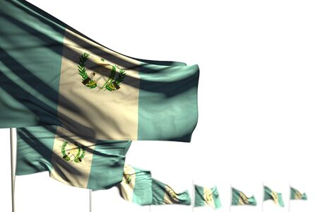 beautiful national holiday flag 3d illustration  - Guatemala isolated flags placed diagonal, photo with bokeh and place for text Banco de Imagens