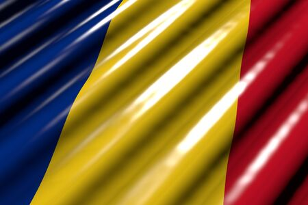 cute glossy - looks like plastic flag of Romania with big folds lay diagonal - any occasion flag 3d illustration