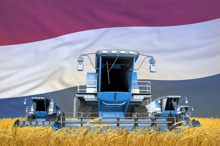 industrial 3D illustration of 4 light blue combine harvesters on wheat field with flag background, Netherlands agriculture concept
