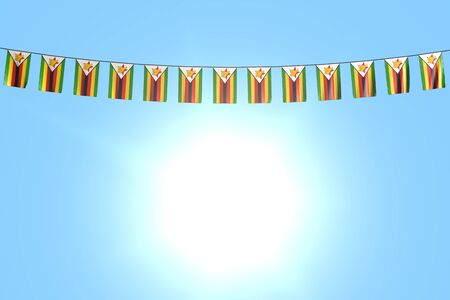 cute many Zimbabwe flags or banners hangs on string on blue sky background - any holiday flag 3d illustration Banco de Imagens