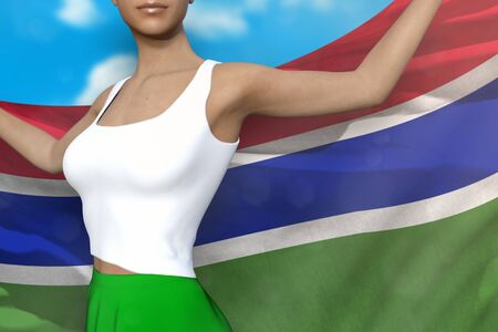 beautiful girl in bright skirt is holding Gambia flag in her hands behind her on the cloudy sky background - flag concept 3d illustration Reklamní fotografie - 130071497