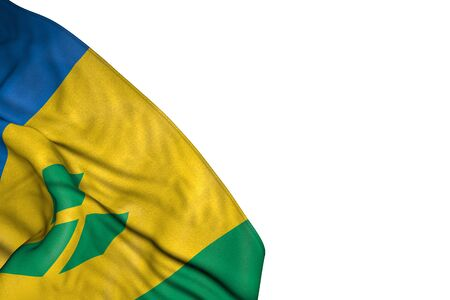 pretty Saint Vincent and the Grenadines flag with large folds lying in bottom left corner isolated on white - any celebration flag 3d illustration
