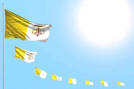 pretty many Holy See flags placed diagonal with selective focus and empty space for your text - any feast flag 3d illustration  Banco de Imagens