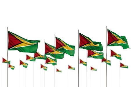 pretty Guyana isolated flags placed in row with selective focus and space for your content - any celebration flag 3d illustration