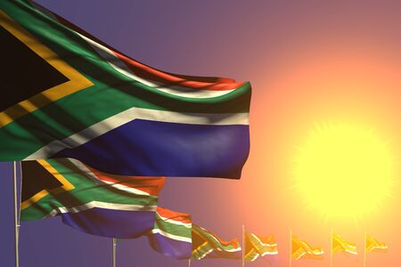 nice holiday flag 3d illustration  - many South Africa flags placed diagonal on sunset with place for your content Banco de Imagens
