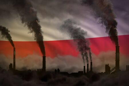 Dark pollution, fight against climate change concept - industrial chimneys heavy smoke on Poland flag background - industrial 3D illustration