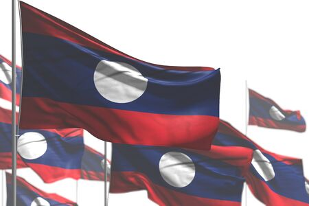wonderful many Lao People Democratic Republic flags are wave isolated on white - photo with bokeh - any feast flag 3d illustration Banco de Imagens