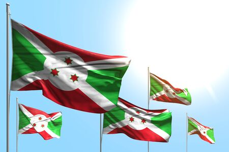 cute national holiday flag 3d illustration  - 5 flags of Burundi are waving on blue sky background