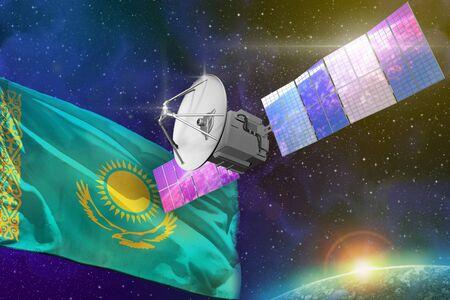 Satellite with Kazakhstan flag, space communications technology concept - 3D Illustration Banque d'images - 130071590