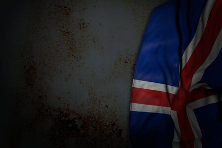 wonderful national holiday flag 3d illustration  - dark photo of Iceland flag with large folds on rusty metal with empty place for content