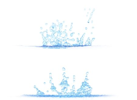 two side views of cool water splash - 3D illustration, mockup isolated on white - for any purpose