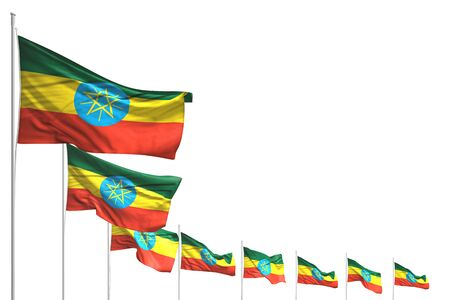 wonderful any holiday flag 3d illustration  - many Ethiopia flags placed diagonal isolated on white with place for text