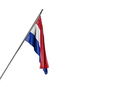 cute Paraguay flag hangs on a diagonal pole isolated on white - any holiday flag 3d illustration