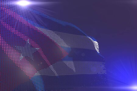 pretty holiday flag 3d illustration  - digital colorful picture of Cuba flag made of dots waving on purple with place for your content 版權商用圖片