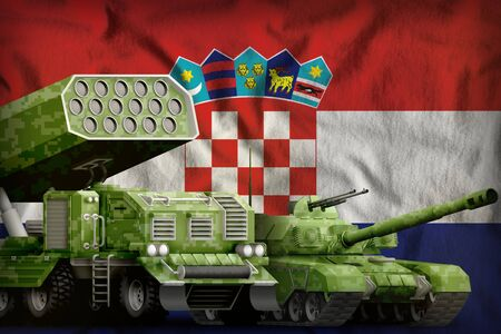 tank and rocket launcher with summer pixel camouflage on the Croatia flag background. Croatia heavy military armored vehicles concept. 3d Illustration