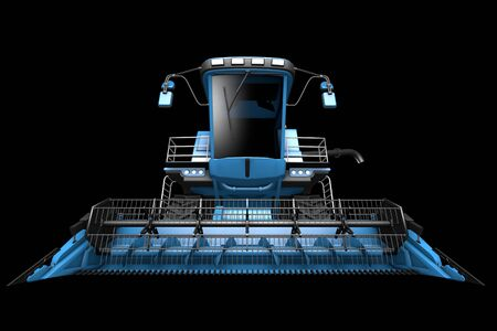 big cg blue rural harvester with harvest pipe detached front view isolated on black - industrial 3D illustration Archivio Fotografico - 130072580