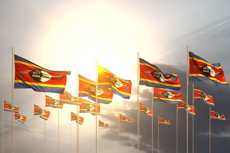 beautiful many Swaziland flags in a row on sunset with empty space for your content - any occasion flag 3d illustration