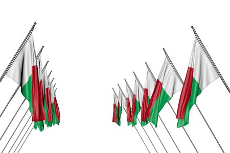 wonderful any occasion flag 3d illustration  - many Madagascar flags hangs on in corner poles from left and right sides isolated on white Banco de Imagens