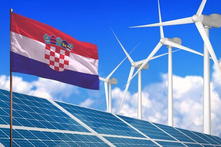 Croatia solar and wind energy, renewable energy concept with windmills - renewable energy against global warming - industrial illustration, 3D illustration Archivio Fotografico - 130072595