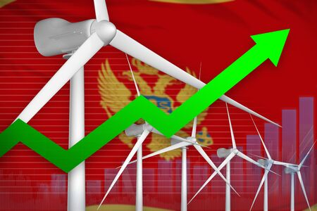 Montenegro wind energy power rising chart, arrow up  - green energy industrial illustration. 3D Illustration