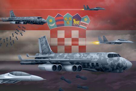 Croatia bomb air strike concept. Modern Croatia war airplanes bombing on flag background. 3d Illustration Stockfoto