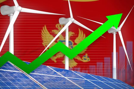 Montenegro solar and wind energy rising chart, arrow up  - green energy industrial illustration. 3D Illustration