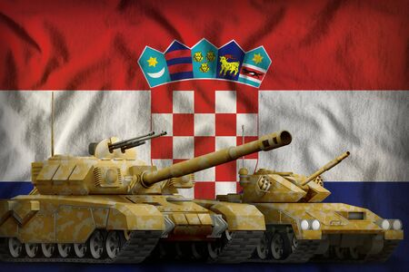 tanks with orange camouflage on the Croatia flag background. Croatia tank forces concept. 3d Illustration