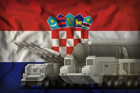 rocket forces on the Croatia flag background. Croatia rocket forces concept. 3d Illustration 版權商用圖片