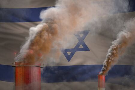 Global warming concept - heavy smoke from industry chimneys on Israel flag background with space for your content - industrial 3D illustration Reklamní fotografie