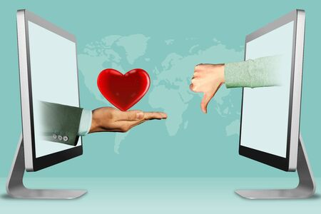 digital concept, hands from laptops. heart and thumbs down, dislike . 3d illustration 스톡 콘텐츠