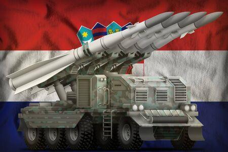 tactical short range ballistic missile with arctic camouflage on the Croatia flag background. 3d Illustration Banco de Imagens