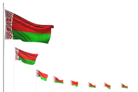 cute holiday flag 3d illustration  - Belarus isolated flags placed diagonal, illustration with selective focus and space for your text