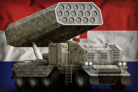 rocket artillery, missile launcher with grey camouflage on the Croatia flag background. 3d Illustration