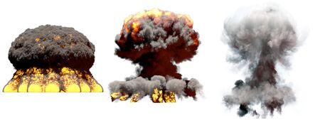 3 huge different phases fire mushroom cloud explosion of nuke bomb with smoke and flames isolated on white - 3D illustration of explosion