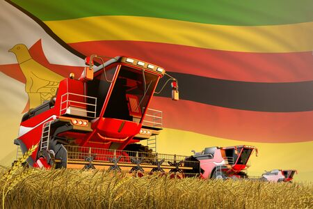 industrial 3D illustration of agricultural combine harvester working on rye field with Zimbabwe flag background, food production concept Archivio Fotografico - 130081412