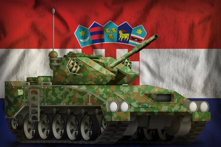 light tank apc with summer camouflage on the Croatia flag background. 3d Illustration
