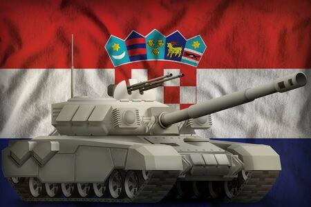 heavy tank on the Croatia flag background. 3d Illustration Imagens