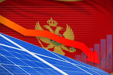 Montenegro solar energy power lowering chart, arrow down - green energy industrial illustration. 3D Illustration